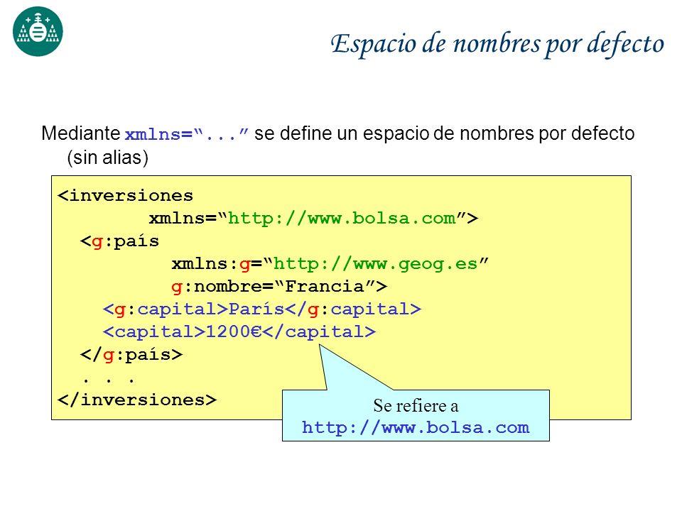 Espacio de nombres por defecto Mediante xmlns=... se define un espacio de nombres por defecto (sin alias) <inversiones xmlns=http://www.bolsa.com> <g: