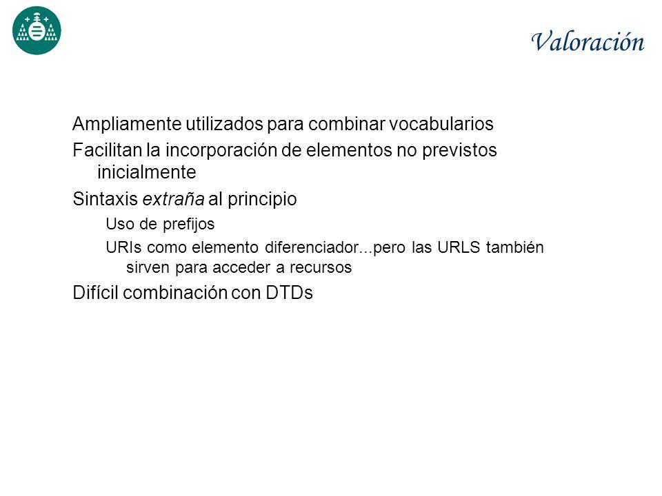 Valoración Ampliamente utilizados para combinar vocabularios Facilitan la incorporación de elementos no previstos inicialmente Sintaxis extraña al pri