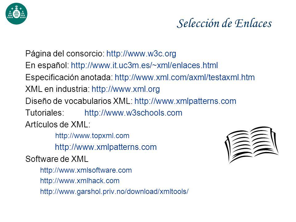 Selección de Enlaces Página del consorcio: http://www.w3c.org En español: http://www.it.uc3m.es/~xml/enlaces.html Especificación anotada: http://www.x