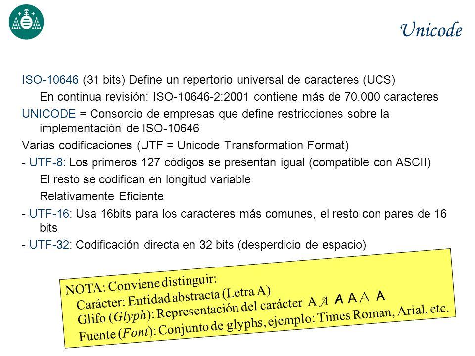Unicode ISO-10646 (31 bits) Define un repertorio universal de caracteres (UCS) En continua revisión: ISO-10646-2:2001 contiene más de 70.000 caractere