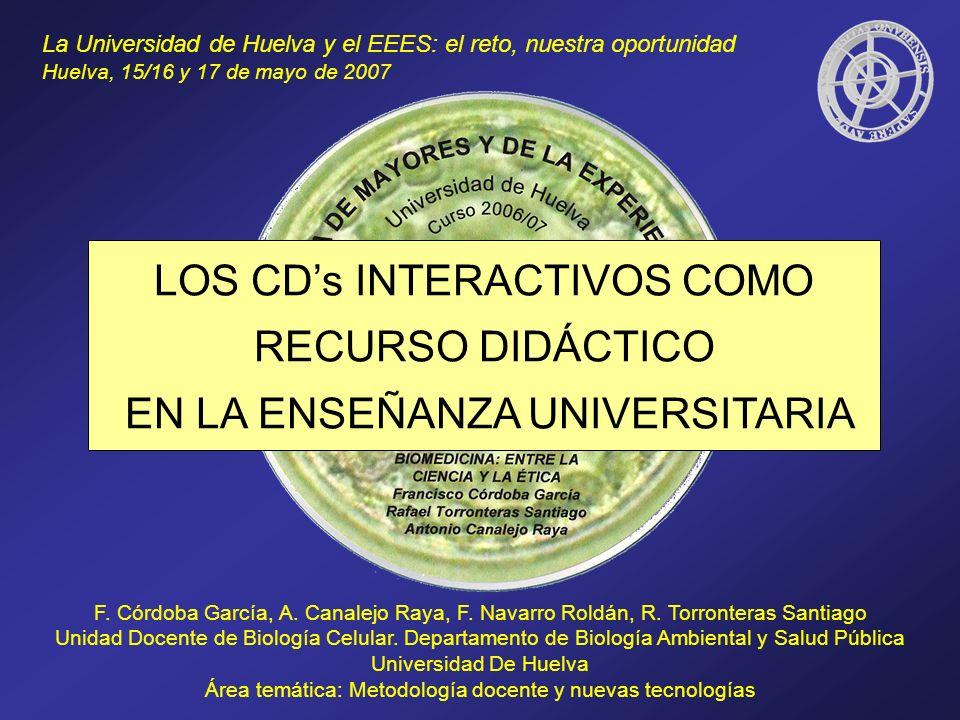 LOS CDs INTERACTIVOS COMO RECURSO DIDÁCTICO EN LA ENSEÑANZA UNIVERSITARIA F. Córdoba García, A. Canalejo Raya, F. Navarro Roldán, R. Torronteras Santi
