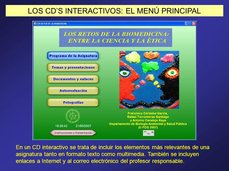 LOS CDS INTERACTIVOS: EL MENÚ PRINCIPAL En un CD interactivo se trata de incluir los elementos más relevantes de una asignatura tanto en formato texto