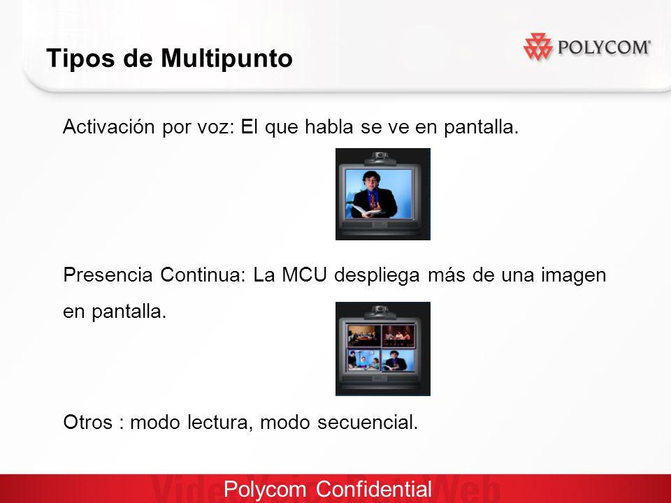 Polycom Confidential Tipos de Multipunto Activación por voz: El que habla se ve en pantalla.