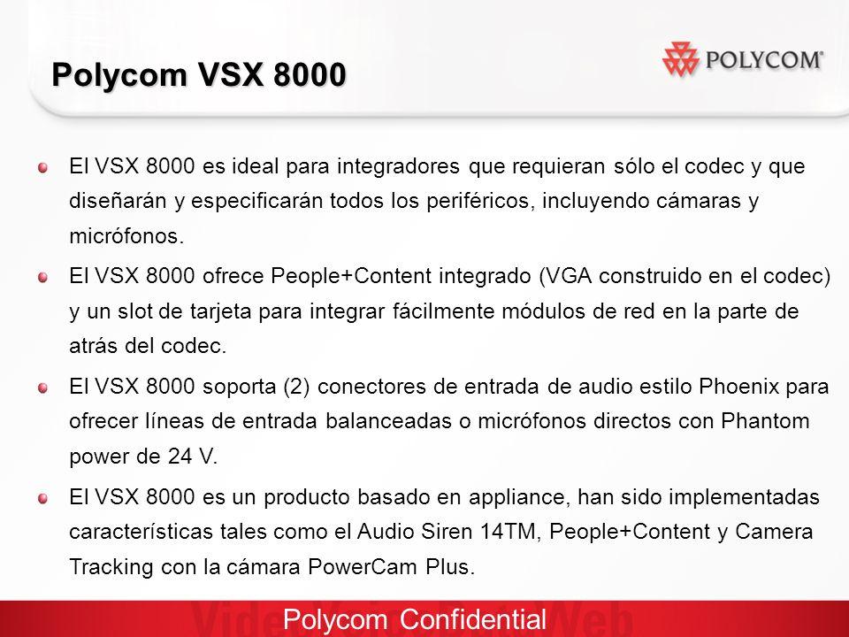 Polycom Confidential Polycom VSX 8000 El VSX 8000 es ideal para integradores que requieran sólo el codec y que diseñarán y especificarán todos los periféricos, incluyendo cámaras y micrófonos.