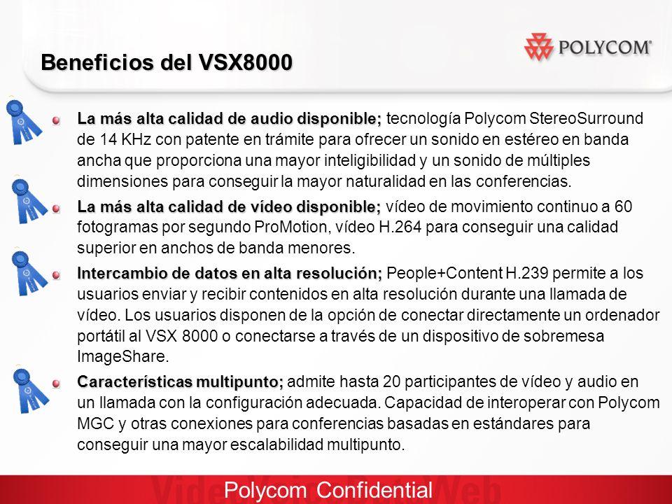 Polycom Confidential La más alta calidad de audio disponible; La más alta calidad de audio disponible; tecnología Polycom StereoSurround de 14 KHz con patente en trámite para ofrecer un sonido en estéreo en banda ancha que proporciona una mayor inteligibilidad y un sonido de múltiples dimensiones para conseguir la mayor naturalidad en las conferencias.