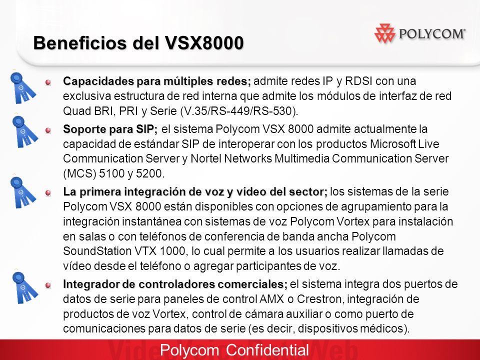 Polycom Confidential Beneficios del VSX8000 Capacidades para múltiples redes; Capacidades para múltiples redes; admite redes IP y RDSI con una exclusiva estructura de red interna que admite los módulos de interfaz de red Quad BRI, PRI y Serie (V.35/RS-449/RS-530).