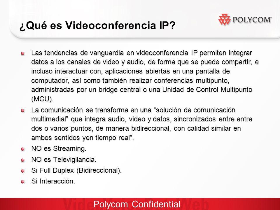 Polycom Confidential Las tendencias de vanguardia en videoconferencia IP permiten integrar datos a los canales de video y audio, de forma que se puede compartir, e incluso interactuar con, aplicaciones abiertas en una pantalla de computador, así como también realizar conferencias multipunto, administradas por un bridge central o una Unidad de Control Multipunto (MCU).