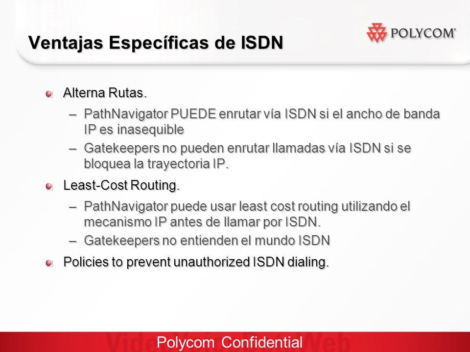 Polycom Confidential Ventajas Específicas de ISDN Alterna Rutas.
