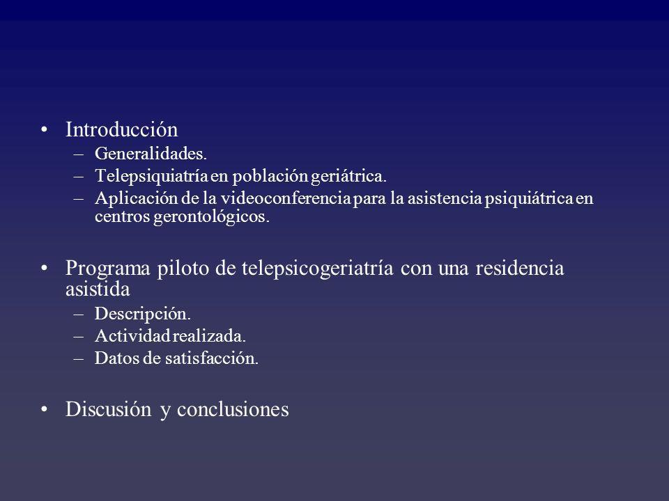 Introducción –Generalidades. –Telepsiquiatría en población geriátrica. –Aplicación de la videoconferencia para la asistencia psiquiátrica en centros g