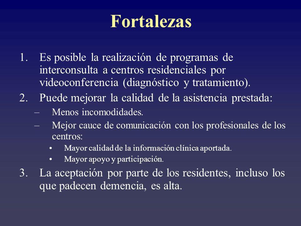 1.Es posible la realización de programas de interconsulta a centros residenciales por videoconferencia (diagnóstico y tratamiento). 2.Puede mejorar la