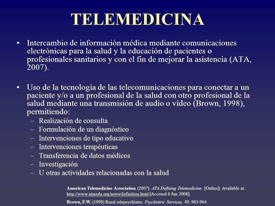 TELEMEDICINA Intercambio de información médica mediante comunicaciones electrónicas para la salud y la educación de pacientes o profesionales sanitarios y con el fin de mejorar la asistencia (ATA, 2007).