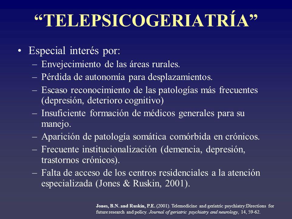 TELEPSICOGERIATRÍA Ventajas a priori: Disminución de la necesidad de desplazamiento.