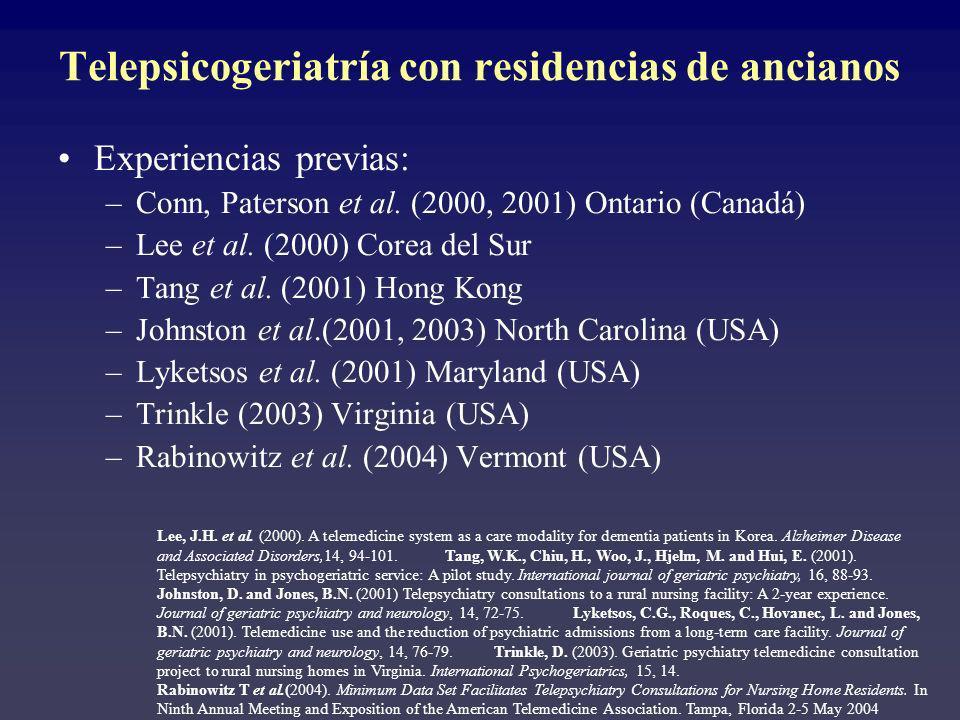 Telepsicogeriatría con residencias de ancianos Experiencias previas: –Conn, Paterson et al. (2000, 2001) Ontario (Canadá) –Lee et al. (2000) Corea del