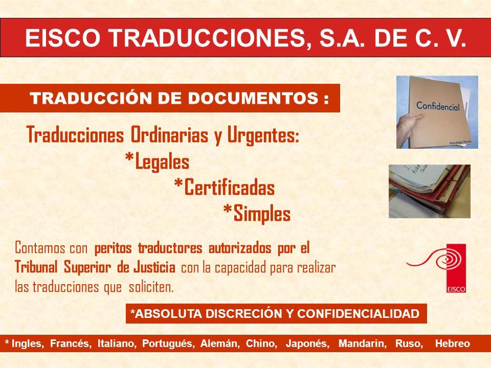 EISCO TRADUCCIONES, S.A.DE C. V.