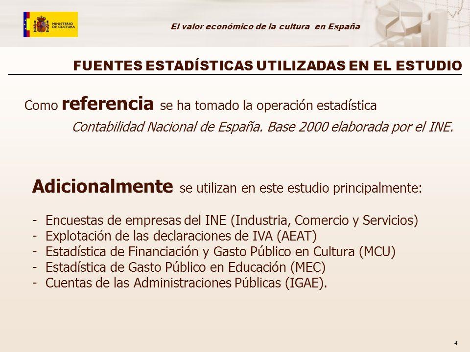 El valor económico de la cultura en España 4 FUENTES ESTADÍSTICAS UTILIZADAS EN EL ESTUDIO Como referencia se ha tomado la operación estadística Contabilidad Nacional de España.