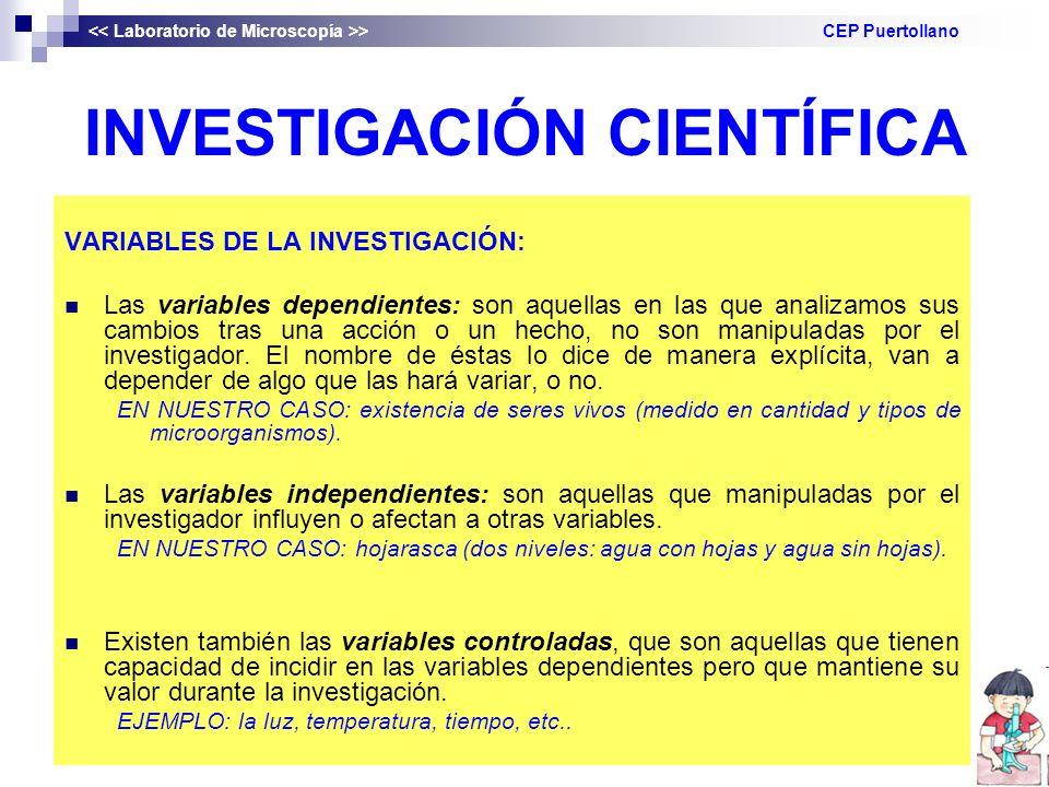 INVESTIGACIÓN CIENTÍFICA VARIABLES DE LA INVESTIGACIÓN: Las variables dependientes: son aquellas en las que analizamos sus cambios tras una acción o un hecho, no son manipuladas por el investigador.