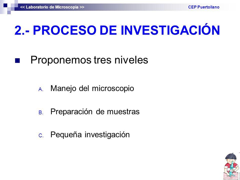 2.- PROCESO DE INVESTIGACIÓN Proponemos tres niveles A. Manejo del microscopio B. Preparación de muestras C. Pequeña investigación > CEP Puertollano