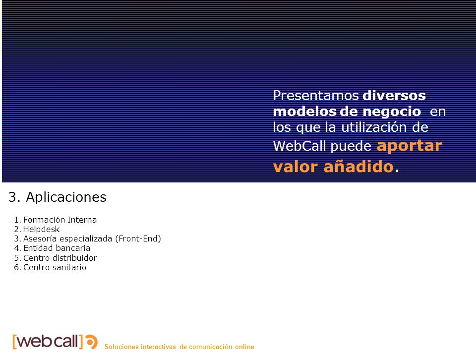 Soluciones interactivas de comunicación online Aplicaciones 3.