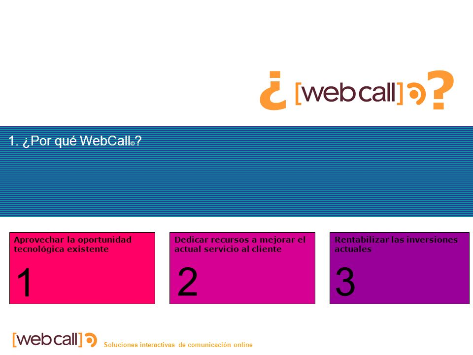 Soluciones interactivas de comunicación online 1. ¿Por qué WebCall © .