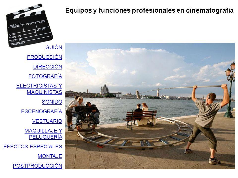 Equipos y funciones profesionales en cinematografía GUIÓN PRODUCCIÓN DIRECCIÓN FOTOGRAFÍA ELECTRICISTAS Y MAQUINISTAS SONIDO ESCENOGRAFÍA VESTUARIO MA