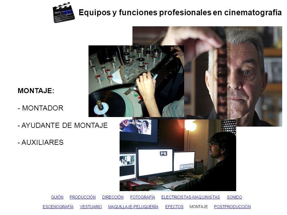 Equipos y funciones profesionales en cinematografía GUIÓNGUIÓN PRODUCCIÓN DIRECCIÓN FOTOGRAFÍA ELECTRICISTAS-MAQUINISTAS SONIDOPRODUCCIÓNDIRECCIÓNFOTO