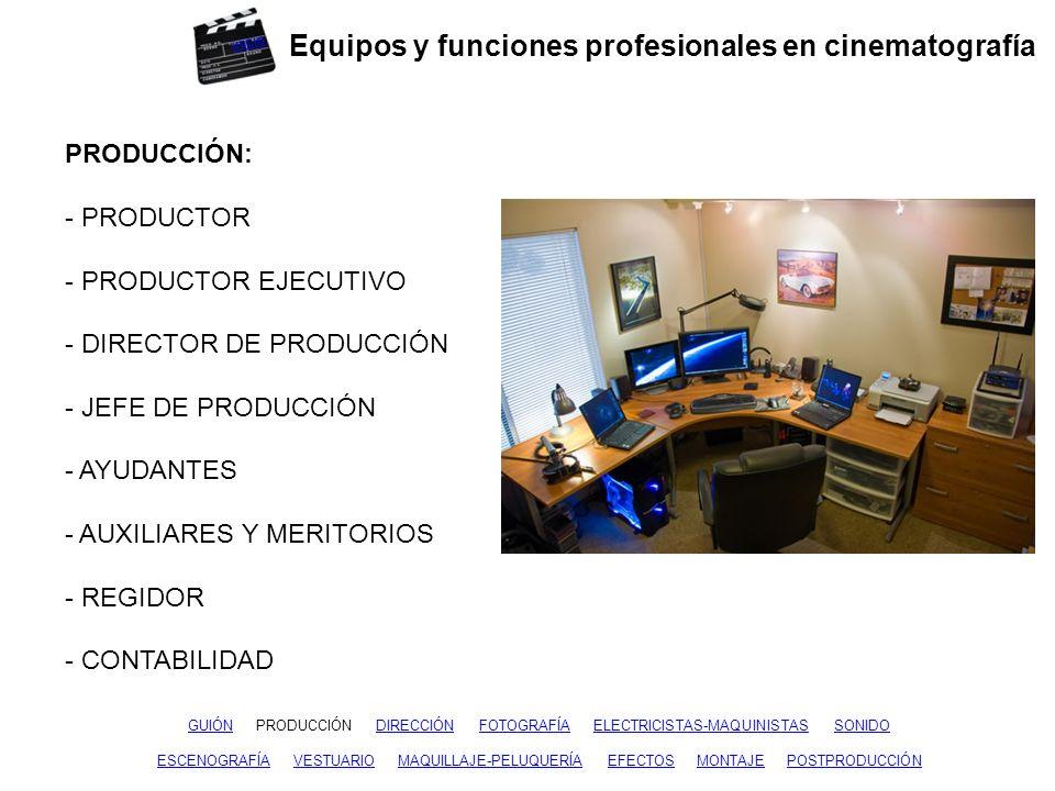 Equipos y funciones profesionales en cinematografía GUIÓNGUIÓN PRODUCCIÓN DIRECCIÓN FOTOGRAFÍA ELECTRICISTAS-MAQUINISTAS SONIDOPRODUCCIÓNFOTOGRAFÍAELECTRICISTAS-MAQUINISTASSONIDO ESCENOGRAFÍAESCENOGRAFÍA VESTUARIO MAQUILLAJE-PELUQUERÍA EFECTOS MONTAJE POSTPRODUCCIÓNVESTUARIOMAQUILLAJE-PELUQUERÍAEFECTOSMONTAJEPOSTPRODUCCIÓN DIRECCIÓN: - DIRECTOR - PRIMER AYUDANTE - AYUDANTES - SCRIPT - AUXILIARES Y MERITORIOS inicio