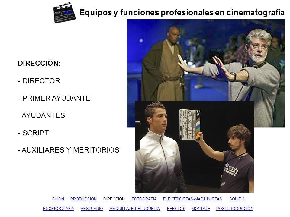 Equipos y funciones profesionales en cinematografía GUIÓNGUIÓN PRODUCCIÓN DIRECCIÓN FOTOGRAFÍA ELECTRICISTAS-MAQUINISTAS SONIDOPRODUCCIÓNFOTOGRAFÍAELE