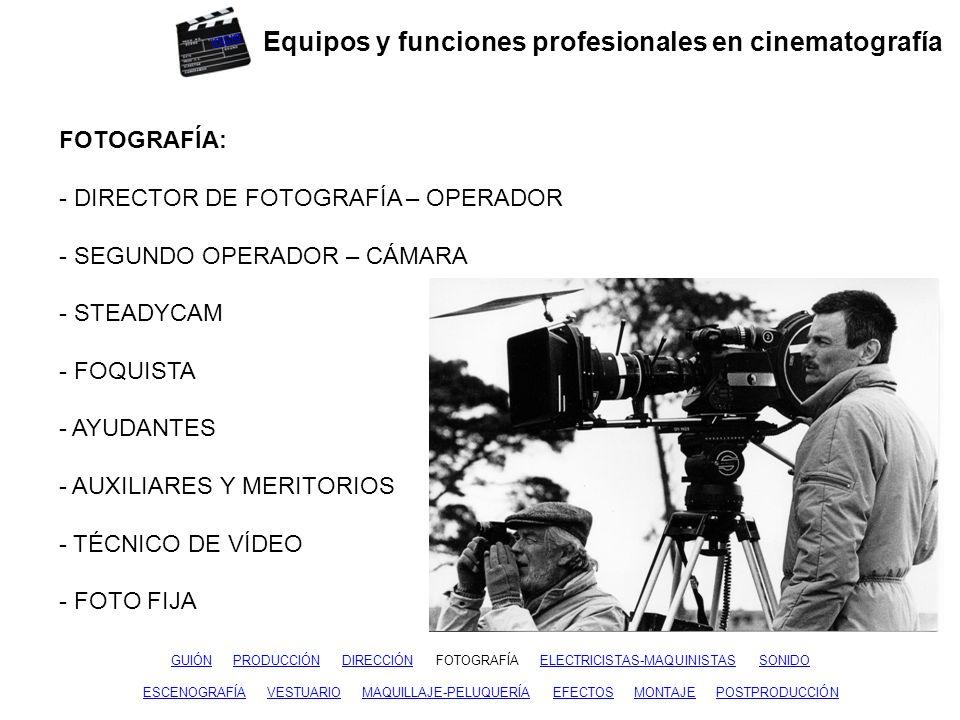 Equipos y funciones profesionales en cinematografía GUIÓNGUIÓN PRODUCCIÓN DIRECCIÓN FOTOGRAFÍA ELECTRICISTAS-MAQUINISTAS SONIDOPRODUCCIÓNDIRECCIÓNFOTOGRAFÍASONIDO ESCENOGRAFÍAESCENOGRAFÍA VESTUARIO MAQUILLAJE-PELUQUERÍA EFECTOS MONTAJE POSTPRODUCCIÓNVESTUARIOMAQUILLAJE-PELUQUERÍAEFECTOSMONTAJEPOSTPRODUCCIÓN ELECTRICISTAS – MAQUINISTAS: - JEFE DE ELÉCTRICOS - ELÉCTRICOS - JEFE DE MAQUINISTAS - MAQUINISTAS - AYUDANTES inicio