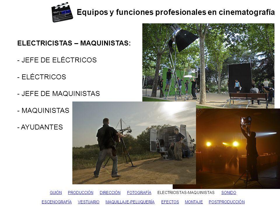 Equipos y funciones profesionales en cinematografía GUIÓNGUIÓN PRODUCCIÓN DIRECCIÓN FOTOGRAFÍA ELECTRICISTAS-MAQUINISTAS SONIDOPRODUCCIÓNDIRECCIÓNFOTOGRAFÍAELECTRICISTAS-MAQUINISTAS ESCENOGRAFÍAESCENOGRAFÍA VESTUARIO MAQUILLAJE-PELUQUERÍA EFECTOS MONTAJE POSTPRODUCCIÓNVESTUARIOMAQUILLAJE-PELUQUERÍAEFECTOSMONTAJEPOSTPRODUCCIÓN SONIDO: - JEFE DE SONIDO - MICROFONISTA - AYUDANTES - AUXILIARES Y MERITORIOS - MONTADOR DE SONIDO inicio