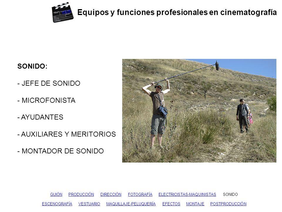 Equipos y funciones profesionales en cinematografía GUIÓNGUIÓN PRODUCCIÓN DIRECCIÓN FOTOGRAFÍA ELECTRICISTAS-MAQUINISTAS SONIDOPRODUCCIÓNDIRECCIÓNFOTOGRAFÍAELECTRICISTAS-MAQUINISTASSONIDO ESCENOGRAFÍA VESTUARIO MAQUILLAJE-PELUQUERÍA EFECTOS MONTAJE POSTPRODUCCIÓNVESTUARIOMAQUILLAJE-PELUQUERÍAEFECTOSMONTAJEPOSTPRODUCCIÓN ESCENOGRAFÍA – DECORACIÓN: - DIRECTOR DE ARTE - AYUDANTES - JEFE DE ATREZO - ATRECISTAS - CONSTRUCTOR - CARPINTEROS - PINTORES - AUXILIARES Y MERITORIOS inicio