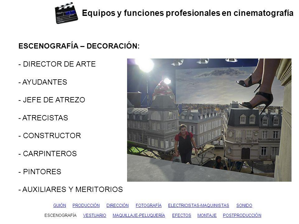 Equipos y funciones profesionales en cinematografía GUIÓNGUIÓN PRODUCCIÓN DIRECCIÓN FOTOGRAFÍA ELECTRICISTAS-MAQUINISTAS SONIDOPRODUCCIÓNDIRECCIÓNFOTOGRAFÍAELECTRICISTAS-MAQUINISTASSONIDO ESCENOGRAFÍAESCENOGRAFÍA VESTUARIO MAQUILLAJE-PELUQUERÍA EFECTOS MONTAJE POSTPRODUCCIÓNMAQUILLAJE-PELUQUERÍAEFECTOSMONTAJEPOSTPRODUCCIÓN VESTUARIO: - FIGURINISTA - AYUDANTES DE FIGURINISTA - JEFE DE VESTUARIO - AYUDANTES DE VESTUARIO - JEFE DE SASTRERÍA - SASTRES - COSTURERAS inicio