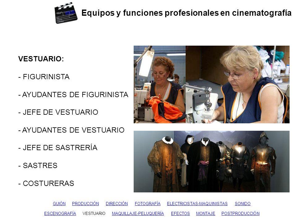 Equipos y funciones profesionales en cinematografía GUIÓNGUIÓN PRODUCCIÓN DIRECCIÓN FOTOGRAFÍA ELECTRICISTAS-MAQUINISTAS SONIDOPRODUCCIÓNDIRECCIÓNFOTOGRAFÍAELECTRICISTAS-MAQUINISTASSONIDO ESCENOGRAFÍAESCENOGRAFÍA VESTUARIO MAQUILLAJE-PELUQUERÍA EFECTOS MONTAJE POSTPRODUCCIÓNVESTUARIOEFECTOSMONTAJEPOSTPRODUCCIÓN MAQUILLAJE - PELUQUERÍA: - MAQUILLADOR - MAQUILLADOR DE CUERPO - PELUQUERO - AYUDANTES - AUXILIARES inicio