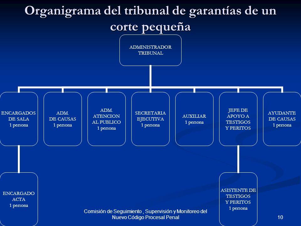 10 Comisión de Seguimiento, Supervisión y Monitoreo del Nuevo Código Procesal Penal Organigrama del tribunal de garantías de un corte pequeña ADMINIST