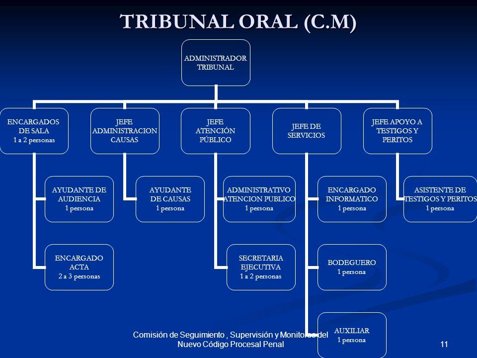 11 Comisión de Seguimiento, Supervisión y Monitoreo del Nuevo Código Procesal Penal TRIBUNAL ORAL (C.M) ADMINISTRADOR TRIBUNAL ENCARGADOS DE SALA 1 a