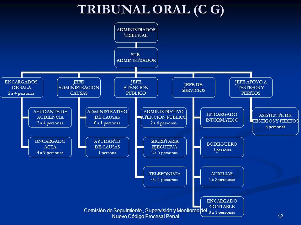 12 Comisión de Seguimiento, Supervisión y Monitoreo del Nuevo Código Procesal Penal TRIBUNAL ORAL (C G) ADMINISTRADOR TRIBUNAL SUB- ADMINISTRADOR ENCA