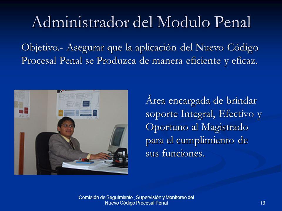 13 Comisión de Seguimiento, Supervisión y Monitoreo del Nuevo Código Procesal Penal Administrador del Modulo Penal Área encargada de brindar soporte I