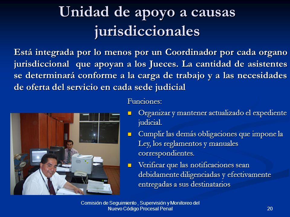 20 Comisión de Seguimiento, Supervisión y Monitoreo del Nuevo Código Procesal Penal Unidad de apoyo a causas jurisdiccionales Está integrada por lo me