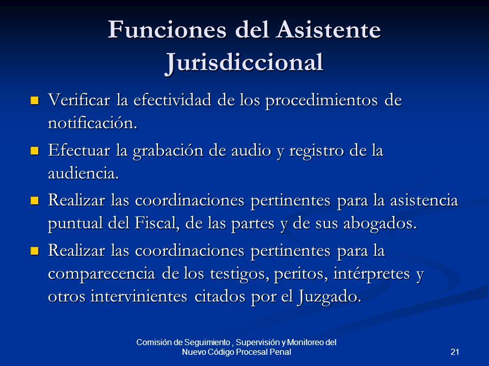 21 Comisión de Seguimiento, Supervisión y Monitoreo del Nuevo Código Procesal Penal Funciones del Asistente Jurisdiccional Verificar la efectividad de