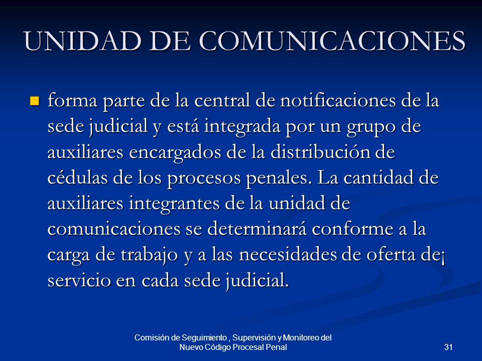 31 Comisión de Seguimiento, Supervisión y Monitoreo del Nuevo Código Procesal Penal UNIDAD DE COMUNICACIONES forma parte de la central de notificacion