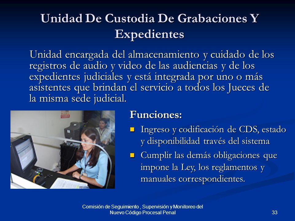 33 Comisión de Seguimiento, Supervisión y Monitoreo del Nuevo Código Procesal Penal Unidad De Custodia De Grabaciones Y Expedientes Unidad encargada d