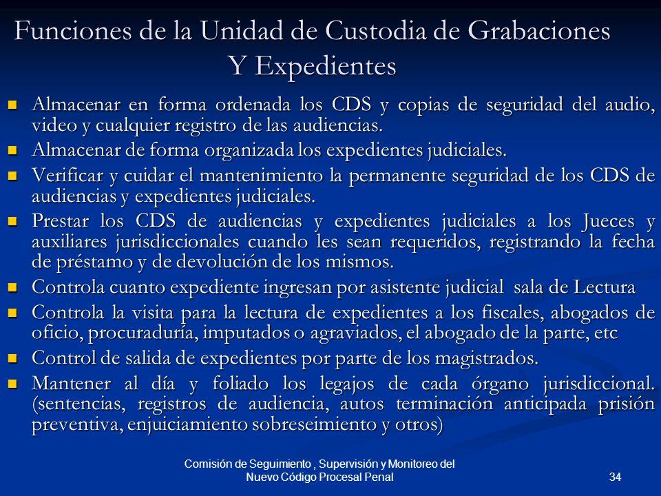 34 Comisión de Seguimiento, Supervisión y Monitoreo del Nuevo Código Procesal Penal Funciones de la Unidad de Custodia de Grabaciones Y Expedientes Al