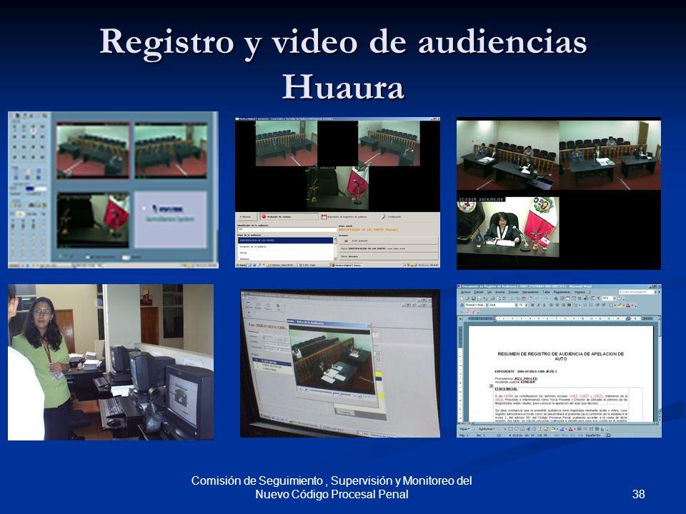 38 Comisión de Seguimiento, Supervisión y Monitoreo del Nuevo Código Procesal Penal Registro y video de audiencias Huaura