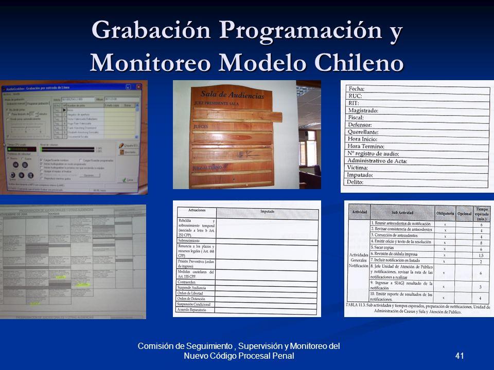 41 Comisión de Seguimiento, Supervisión y Monitoreo del Nuevo Código Procesal Penal Grabación Programación y Monitoreo Modelo Chileno