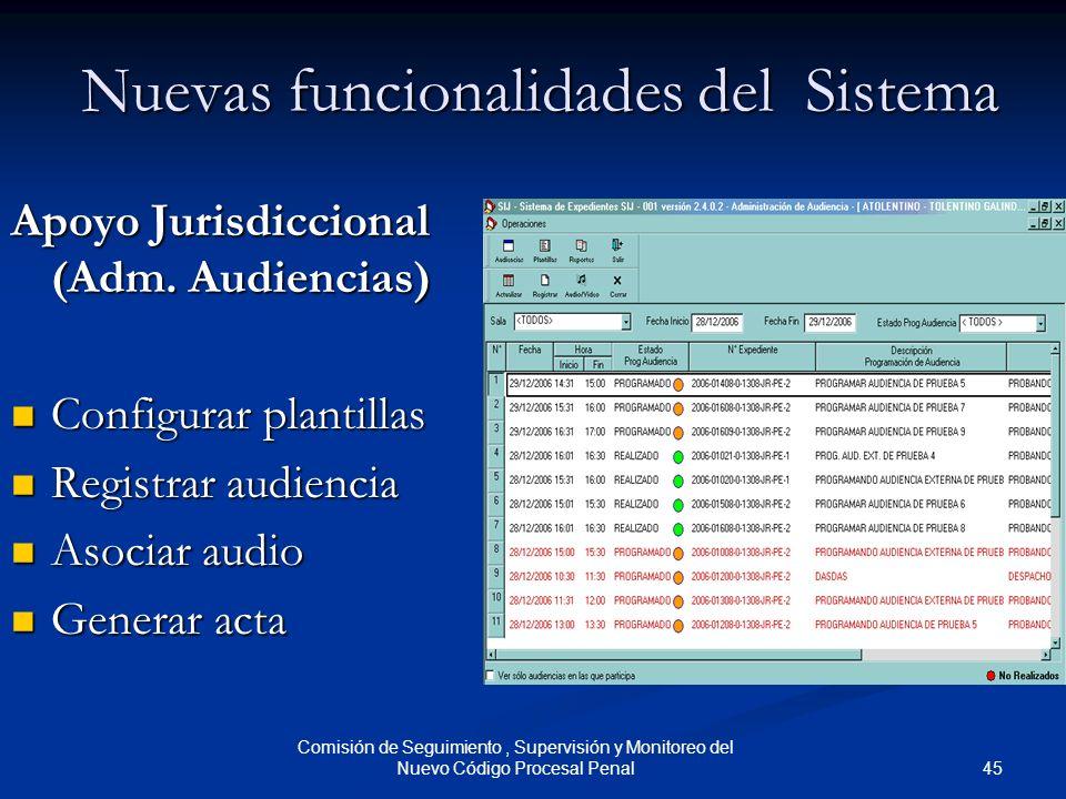 45 Comisión de Seguimiento, Supervisión y Monitoreo del Nuevo Código Procesal Penal Nuevas funcionalidades del Sistema Apoyo Jurisdiccional (Adm. Audi