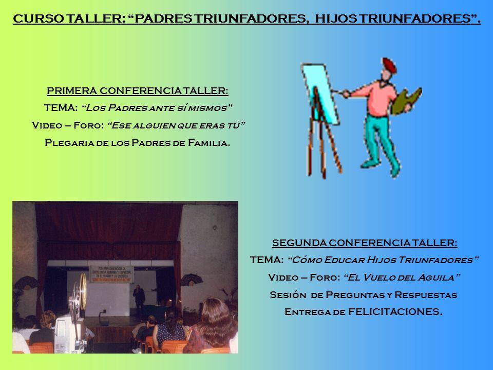SEGUNDA CONFERENCIA TALLER: TEMA: Cómo Educar Hijos Triunfadores Video – Foro: El Vuelo del Aguila Sesión de Preguntas y Respuestas Entrega de FELICIT