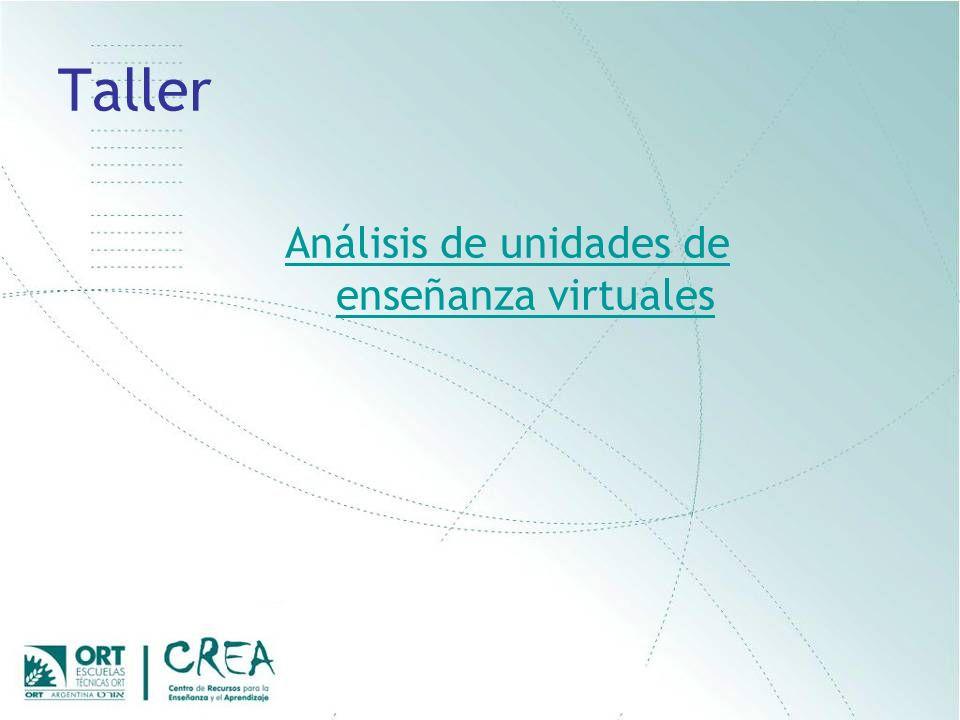 Taller Análisis de unidades de enseñanza virtuales