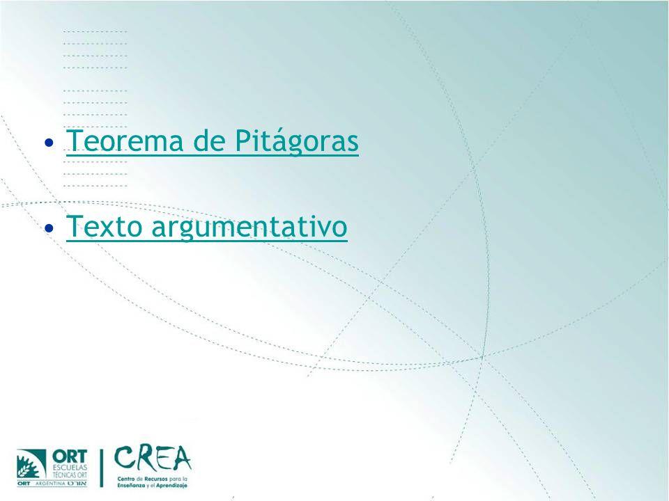 Teorema de Pitágoras Texto argumentativo