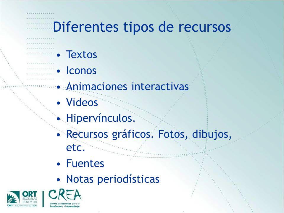 Diferentes tipos de recursos Textos Iconos Animaciones interactivas Videos Hipervínculos.