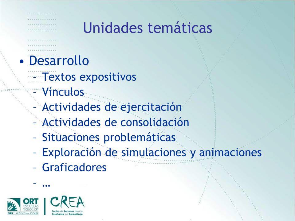 Unidades temáticas Desarrollo –Textos expositivos –Vínculos –Actividades de ejercitación –Actividades de consolidación –Situaciones problemáticas –Exploración de simulaciones y animaciones –Graficadores –…