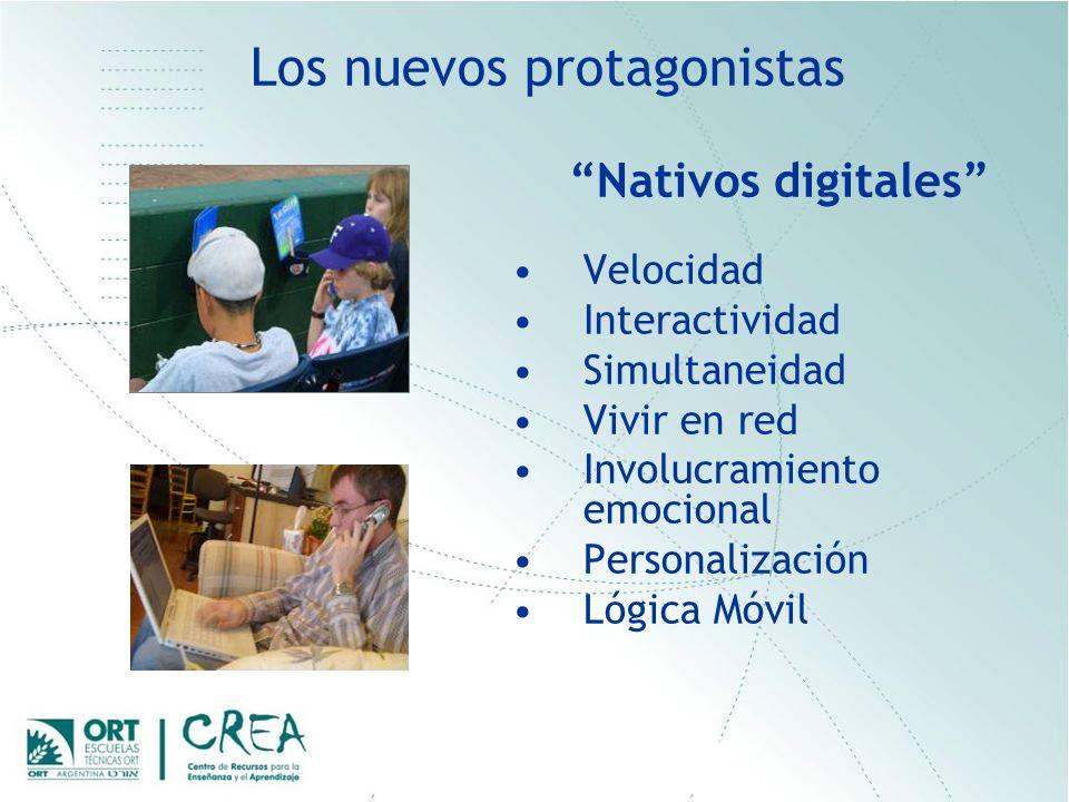 Los nuevos protagonistas Nativos digitales Velocidad Interactividad Simultaneidad Vivir en red Involucramiento emocional Personalización Lógica Móvil